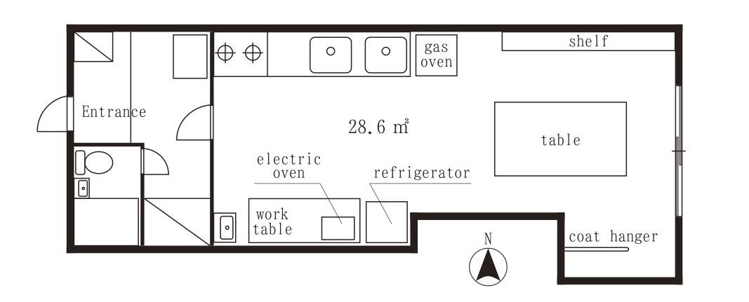 きっちん平面図(ガスオーブン、電気オーブン、2口コンロetc)